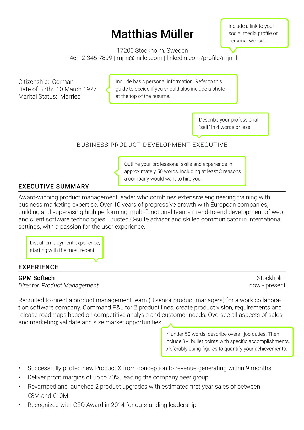 international resume for senior managers