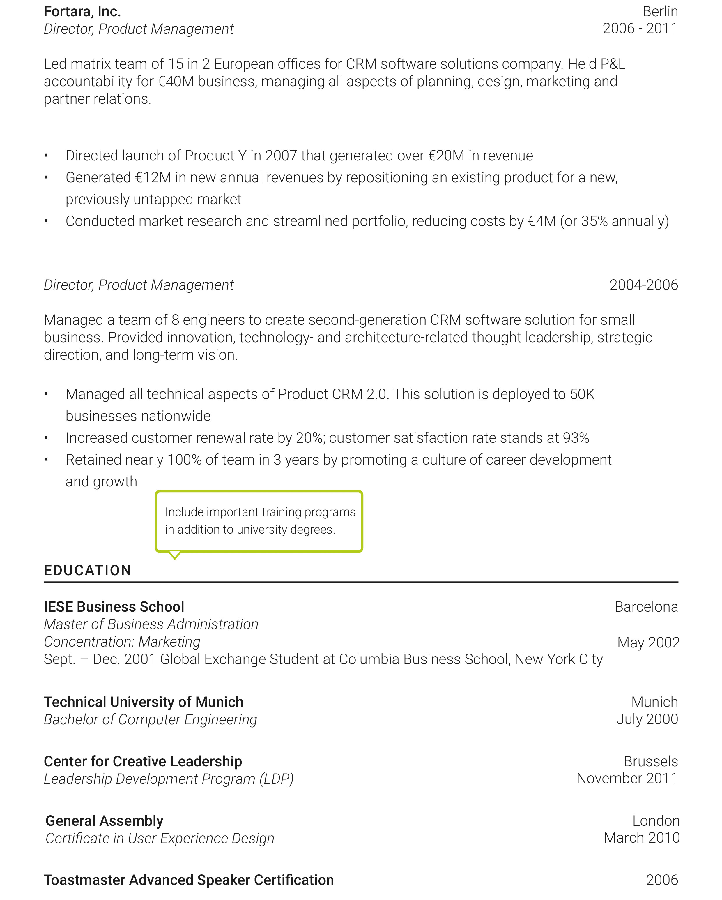 international resume for senior managers resume2
