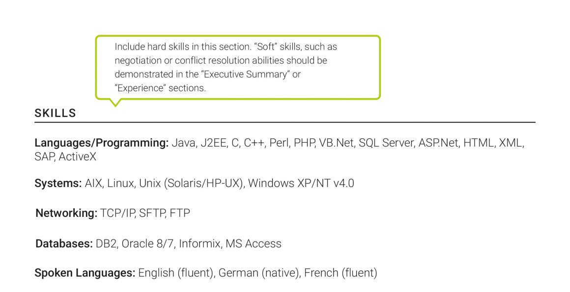 best international senior resume